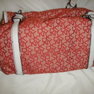 Dkny Bags - DKNY Signature Red-Fabric Satchel/White Handles